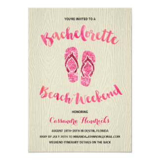 Bachelorette Beach Weekend with Pink Faux Glitter Invitation