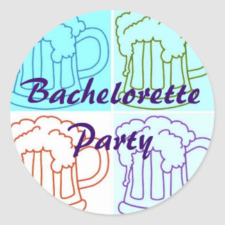 Bachelorette Beer Party Round Stickers