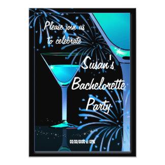 "Bachelorette Blue Martini Cocktail Party 4.5"" X 6.25"" Invitation Card"