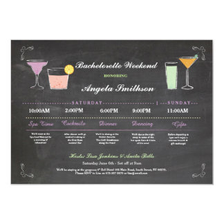 Bachelorette Bridal Shower Chalk Coral Itinerary Card