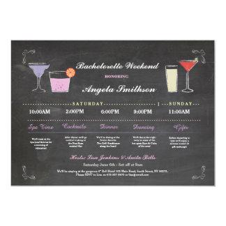 Bachelorette Bridal Shower Chalk Purple Itinerary Invitation