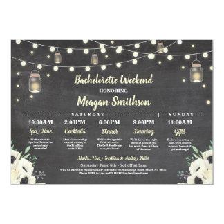 Bachelorette Bridal Shower Itinerary Fireflies Jar Invitation