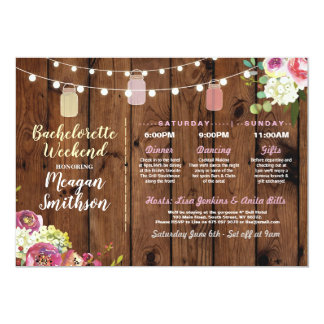 Bachelorette Bridal Shower Itinerary Jars Wood Invitation