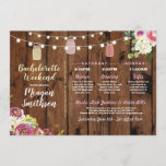 """Bachelorette Bridal Shower Itinerary Jars Wood Program<br><div class=""""desc"""">Bachelorette / Bridal Shower / Hen Party Itinerary - Front and back included. Change the schedule,  time,  text to suit your party!</div>"""