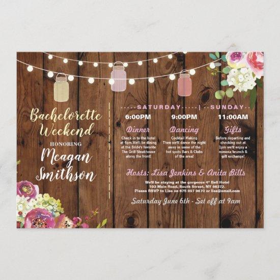 Bachelorette Bridal Shower Itinerary Jars Wood Program