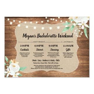 Bachelorette Bridal Shower Itinerary Wood White Invitation