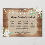 Bachelorette Bridal Shower Itinerary Wood White Program