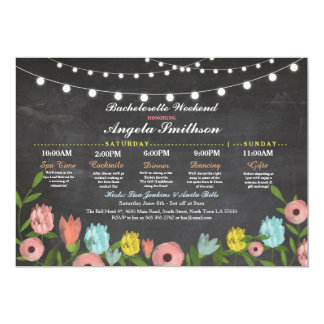 Bachelorette Bridal Shower Pink Floral Itinerary Card