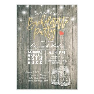 Bachelorette Bridal Shower Rustic Wood Mason Jars Invitation