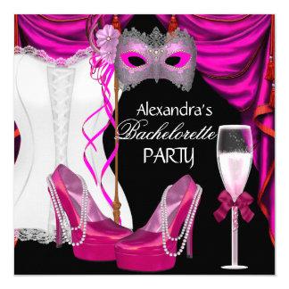 Bachelorette Corset Pink Masquerade Champagne Invitation