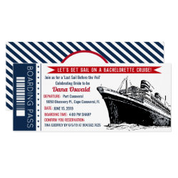 Bachelorette Cruise Ship Boarding Pass Invitation