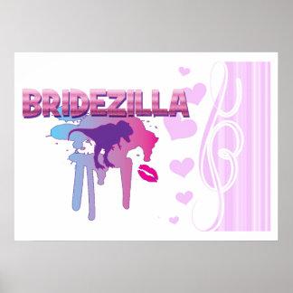 bachelorette del bridezilla que casa la ducha nupc posters