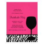 bachelorette del vino del estampado de zebra anuncio personalizado