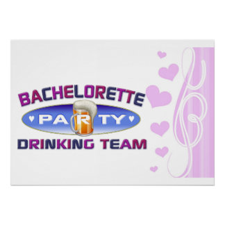 bachelorette drinking team party bridal wedding posters