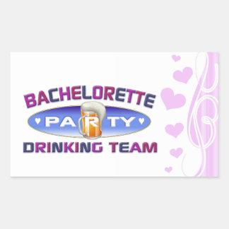 bachelorette drinking team party bridal wedding rectangular sticker