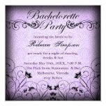 Bachelorette elegante floral negro y púrpura comunicados personalizados