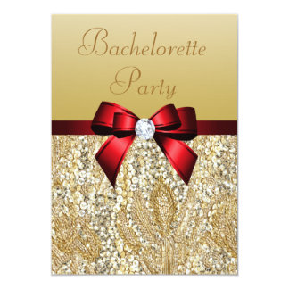 Bachelorette Faux Gold Sequins Royal Red Bow Card