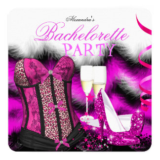 Bachelorette Feather Pink Corset Champagne Heels Card