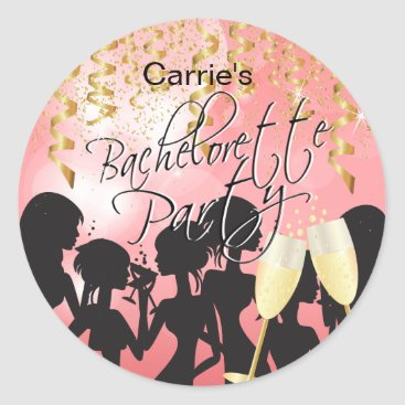 Bride Themed Bachelorette Girls Night Out - Coral Classic Round Sticker