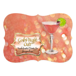 Bachelorette Girl's Night Out Party Martini Glass Card