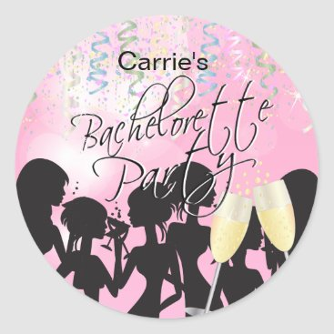 Bride Themed Bachelorette Girls Night Out - Pink Classic Round Sticker