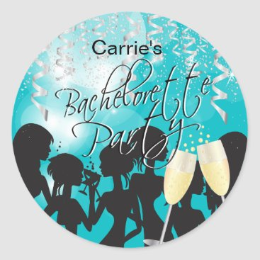 Bride Themed Bachelorette Girls Night Out - Turquoise Classic Round Sticker