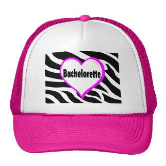Bachelorette (Heart Zebra Stripes) Mesh Hats