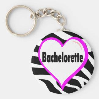 Bachelorette (Heart Zebra Stripes) Keychain