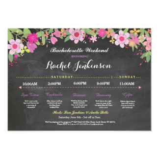Bachelorette Itinerary Bridal Shower Chalk Invite