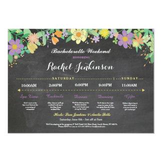 Bachelorette Itinerary Bridal Shower Chalk Invite