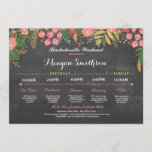"Bachelorette Itinerary Coral & Gold Chalk Invite<br><div class=""desc"">Bachelorette / Bridal Shower / Hen Party Itinerary - Front and back included. Change the schedule,  time,  text to suit your party!</div>"