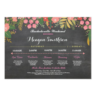 Bachelorette Itinerary Coral & Gold Chalk Invite