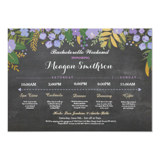 Bachelorette Itinerary Purple & Gold Chalk Invite