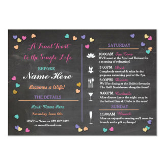 Bachelorette Itinerary Weekend Bridal Shower Spa Card