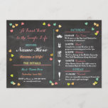 """Bachelorette Itinerary Weekend Hen Bridal Shower Program<br><div class=""""desc"""">Create a Bridal Shower,  Bachelorette or Hen Party with these chalk,  colourful hearts Party Invitations!  Change all the text to suit your event. Back print included.</div>"""
