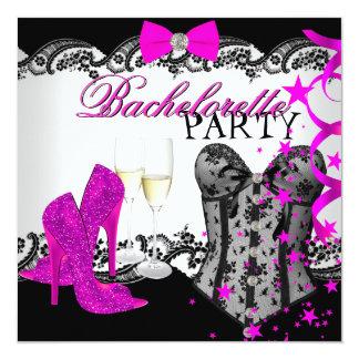 Bachelorette Lace Pink Corset Champagne 5.25x5.25 Square Paper Invitation Card