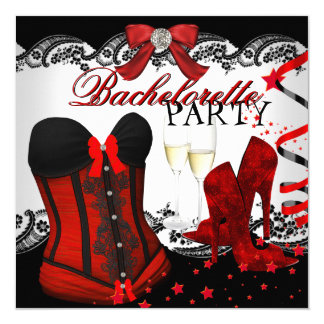 Bachelorette Lace Red Corset Champagne Card