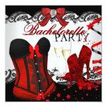 Bachelorette Lace Red Corset Champagne Custom Invites