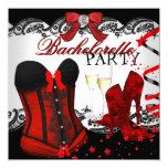 Bachelorette Lace Red Corset Champagne 5.25x5.25 Square Paper Invitation Card
