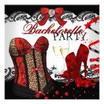 Bachelorette Lace Red Corset Champagne Invitations