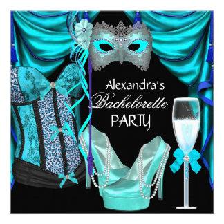 Bachelorette Leopard Blue Masquerade Champagne Custom Invitation