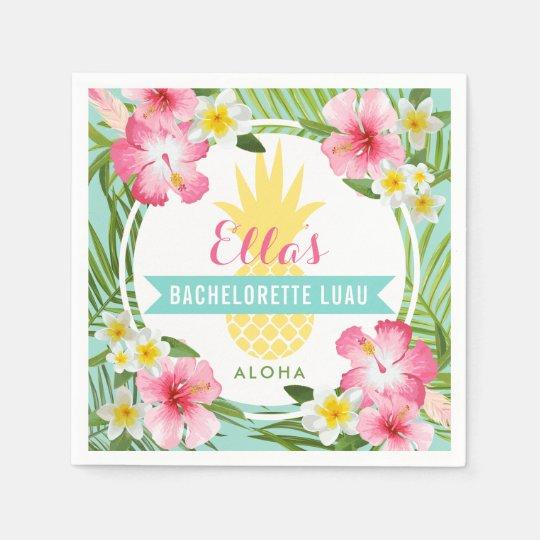 Bachelorette luau tropical pineapple flowers paper napkin zazzle bachelorette luau tropical pineapple flowers paper napkin mightylinksfo