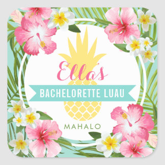 Bachelorette Luau | Tropical Pineapple Flowers Square Sticker
