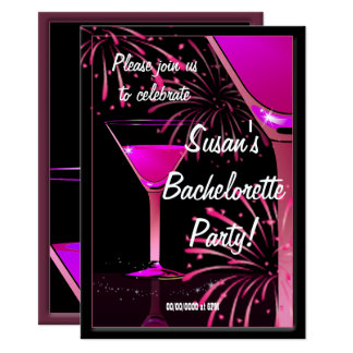 Bachelorette Martini Cocktail Pink Party Card