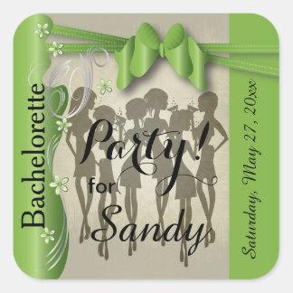 Bachelorette or Birthday Diva Girls - Peridot Square Sticker