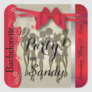 Bachelorette or Birthday Party Diva Girls - Red Square Sticker