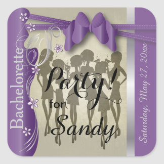 Bachelorette or Birthday Party Girls - Amethyst Square Sticker