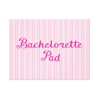 Bachelorette Pad Script on Pink Candy Stripes Gallery Wrapped Canvas