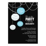 Bachelorette Party Aqua Blue Paper Lanterns Invite