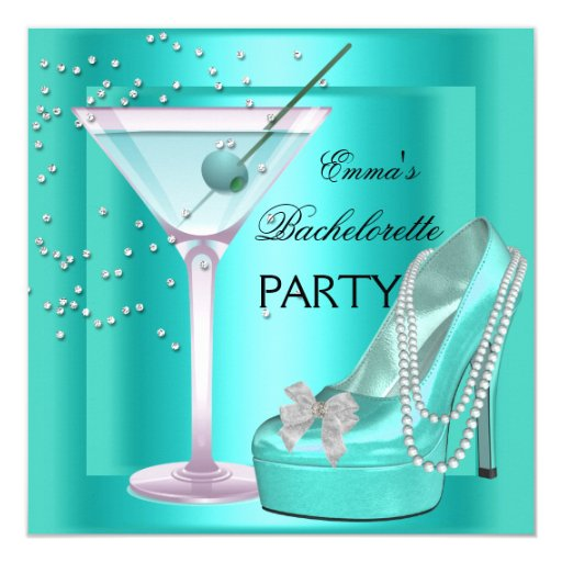 Bachelorette Party Aqua Teal Blue Turquoise Shoes Card